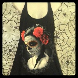 HOTTOPIC Sugar Skull Roses Day of Dead Tunic Tank
